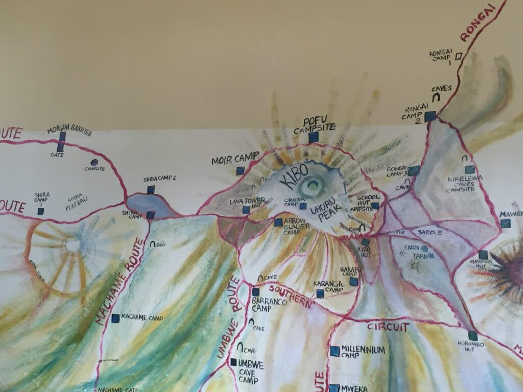 Our welcome meeting for the climb took place in a conference room with this rather wonderful map of the circuits.