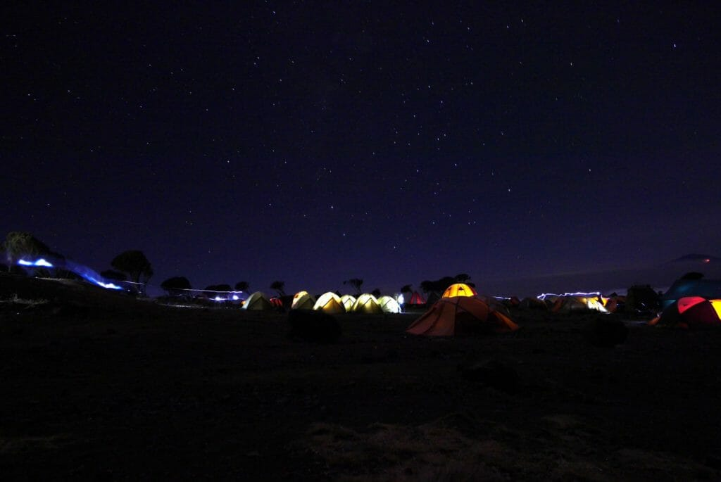 shira, plateau, night, clear, illuminated, machame