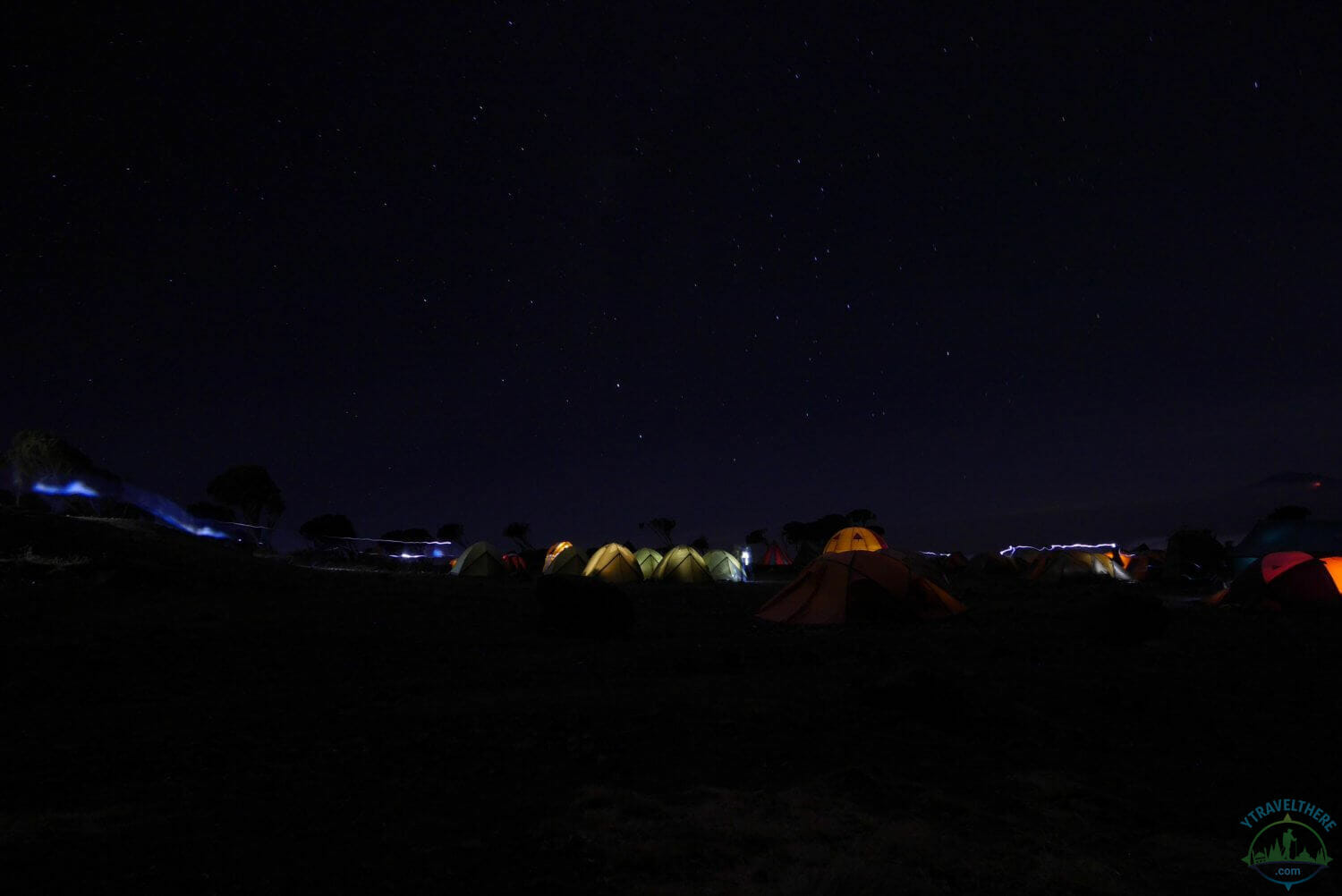 tents lit up Kilimanjaro, Shira 2 camp Kilimanjaro night