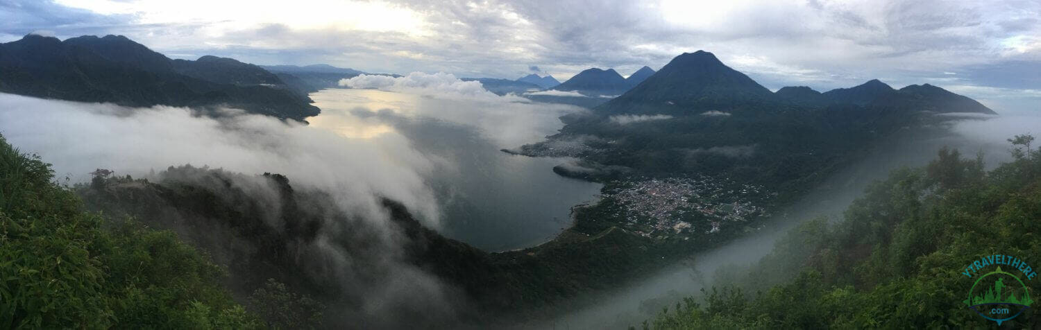 sunrise lake atitlan, clouds over lake atitlan, lake atitlan early morning panorama, Indian nose panorama