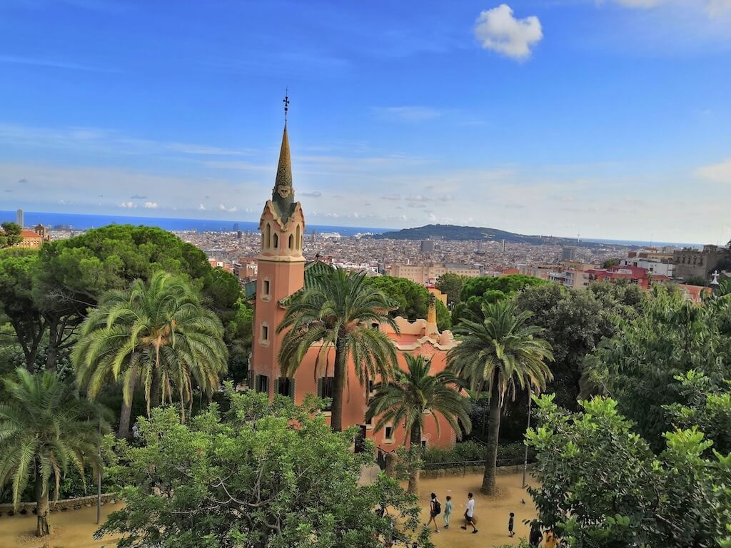 looking out over Barcelona from Park Güell