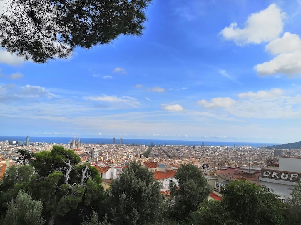 park güell views, barcelona sunny day