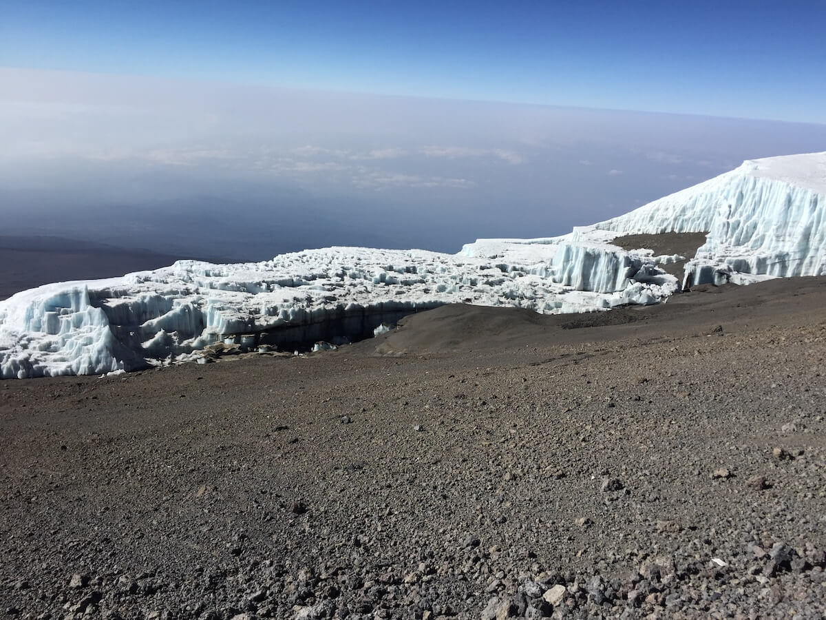 Glaciers clinging to the summit of Kilimanjaro.